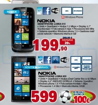 Nokia Lumia 900 e Lumia 610 inseriti nel nuovo volantino Unieuro