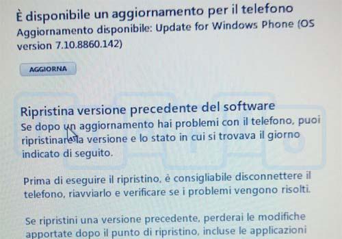 aggiornamento da windows phone 7.8 a 8
