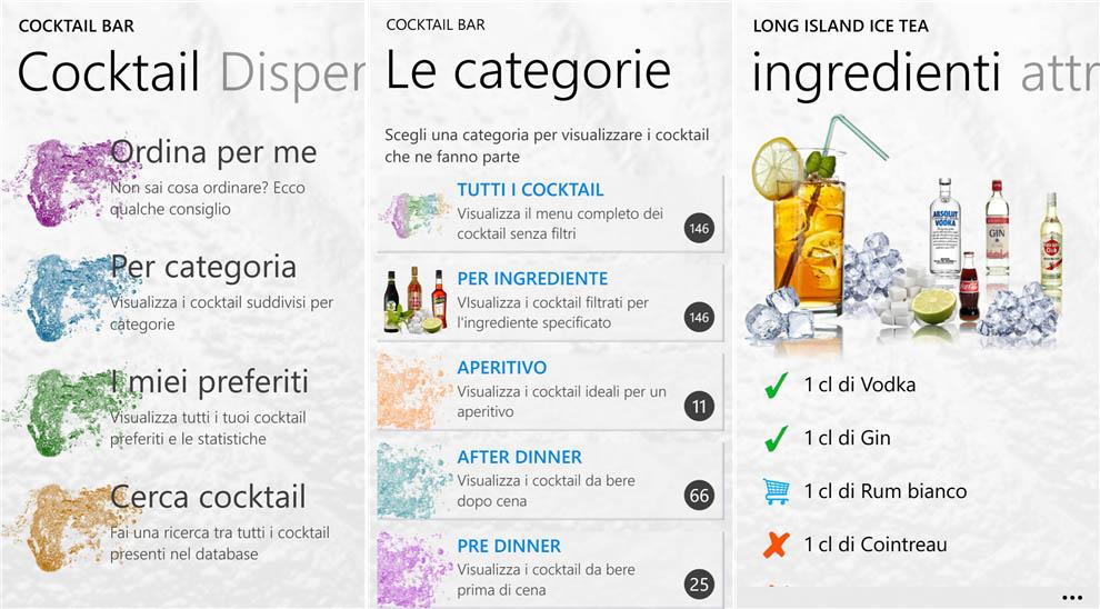 cocktail bar l app sui cocktail per windows phone si