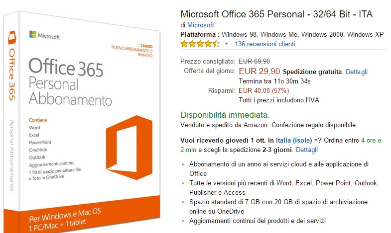 microsoft office 365 personal in offerta su amazon italia a 29 90. Black Bedroom Furniture Sets. Home Design Ideas
