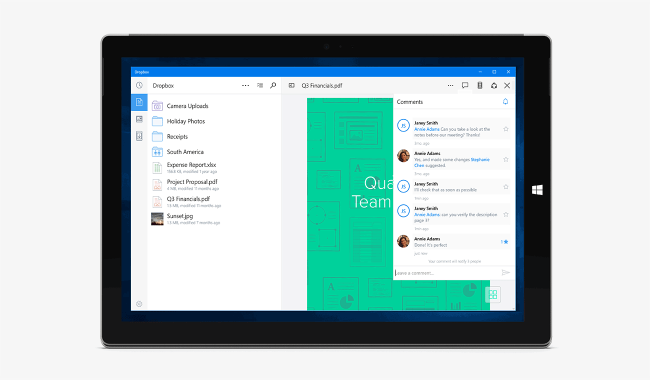 Dropbox ecco l'universal app Windows 10
