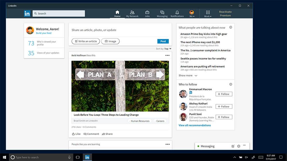 Ecco la nuova app LinkedIn per Windows 10 — Microsoft