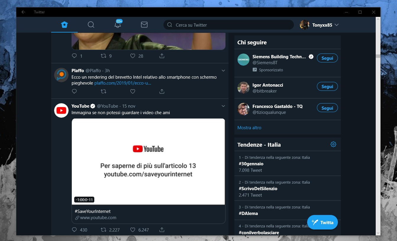 L'app Twitter per Windows 10 e Windows 10 Mobile (PWA) si